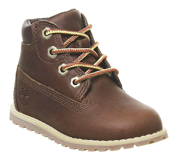 Kids Timberland Pokey Pine 6 Inch Boot Dark Brown Full Grain