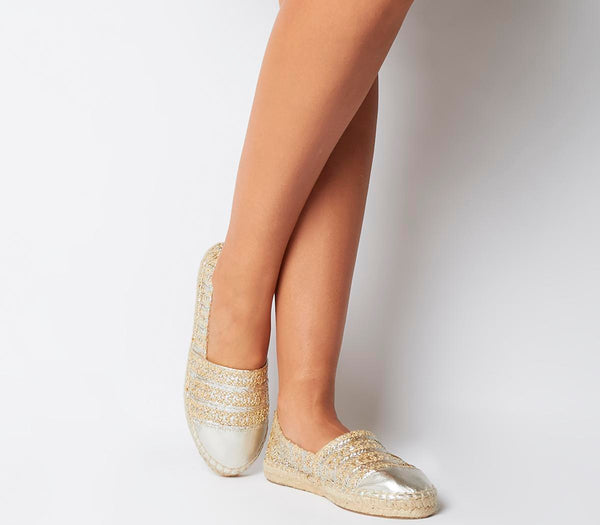 Womens Office Lucky Espadrille With Toe Cap Flats Silver Raffia