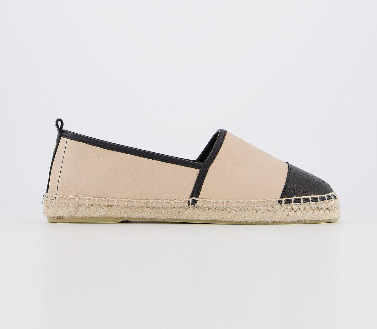 Womens Office Lucky Espadrille With Toe Cap Nude And Black Mix