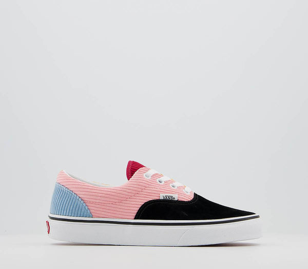 Odd sizes - Womens Vans Era Black Pink Icing True White Cord Exclusive Trainers UK Sizes R6/L5