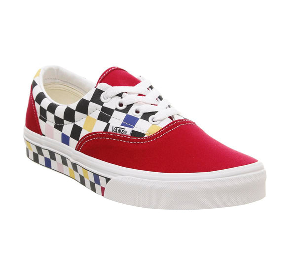 Mens Vans Era Multi Checkerboard Racing Red True White Uk Size 11