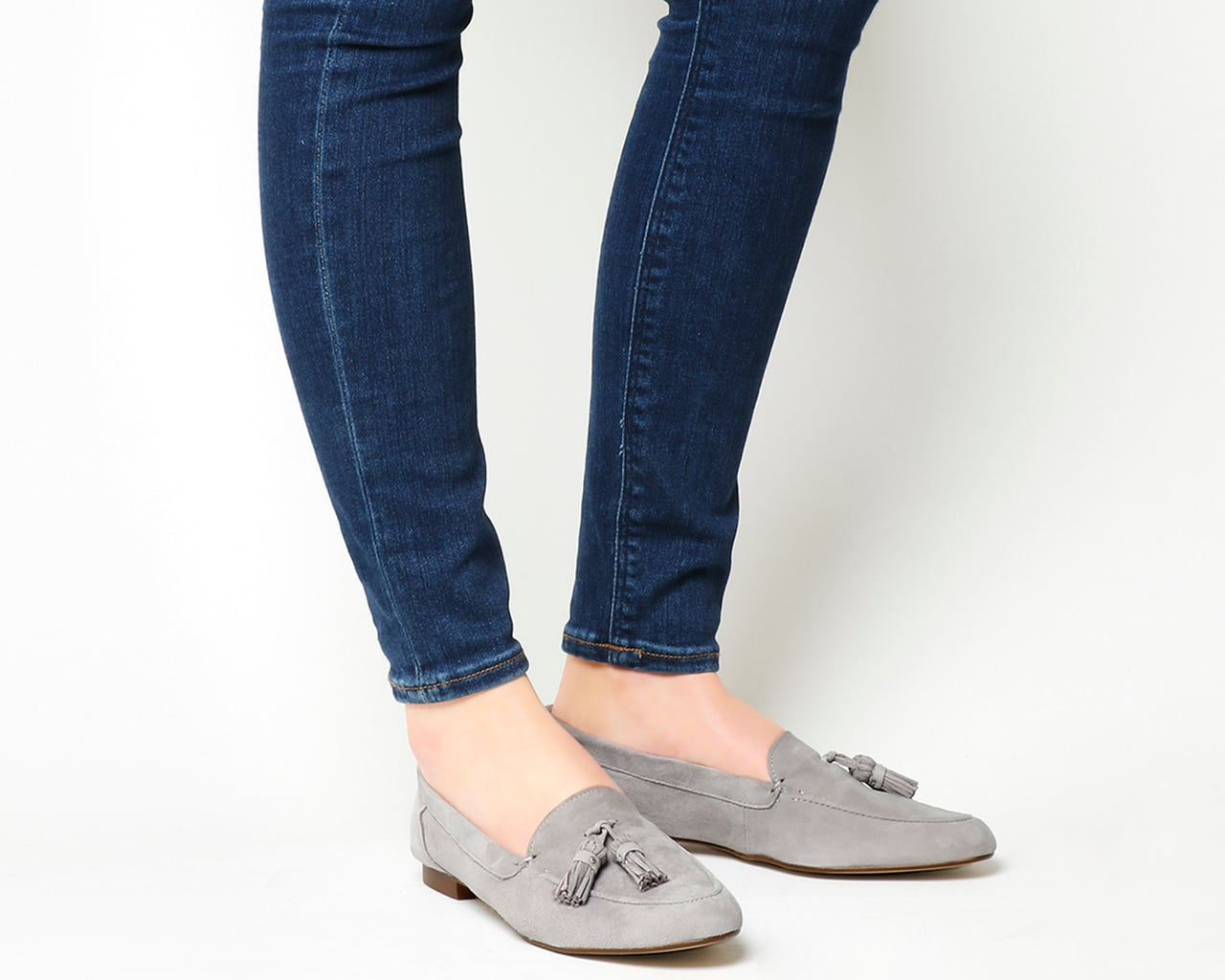 Womens Office Retro Tassel Loafer Grey Suede