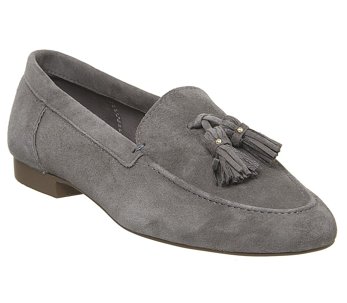 Womens Office Retro Tassel Loafer Dark Grey Suede