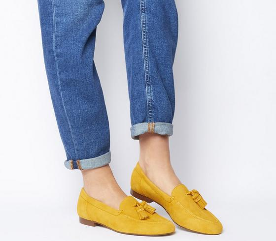 Womens Office Retro Tassel Loafer Yellow Suede 2 Uk Size 4