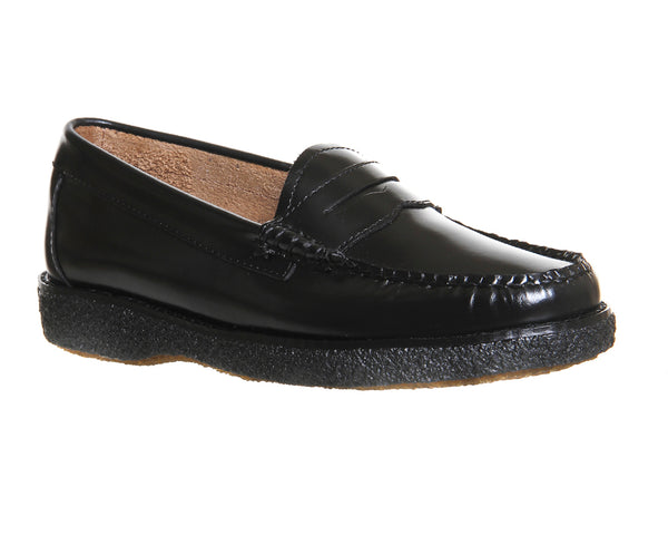 Womens Bass Crepe Sole Penny Loafer Black Hi Shine Leather