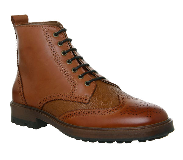Mens Office Ambassador Brogue Boots Tan Scotch Grain