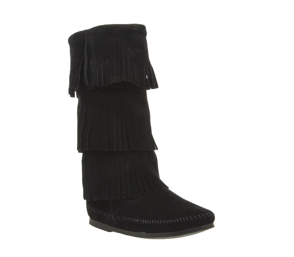 Womens Minnetonka Calf Hi 3 Layer Fringe Boot Black Suede