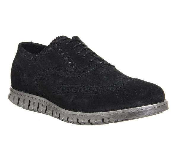 Mens Office Data Brogue Black Suede Silver Sole