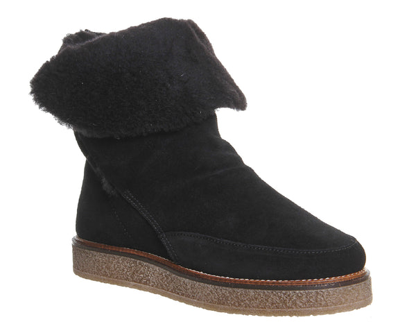Womens Office Eva Shearling Boot Black Suede
