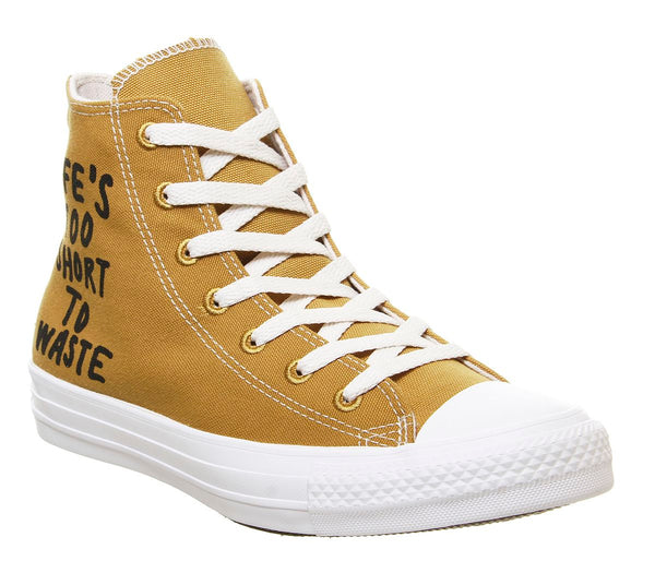 Odd sizes - Womens Converse All Star Hi Trainers Wheat Black White Recycle UK Sizes R5/L6