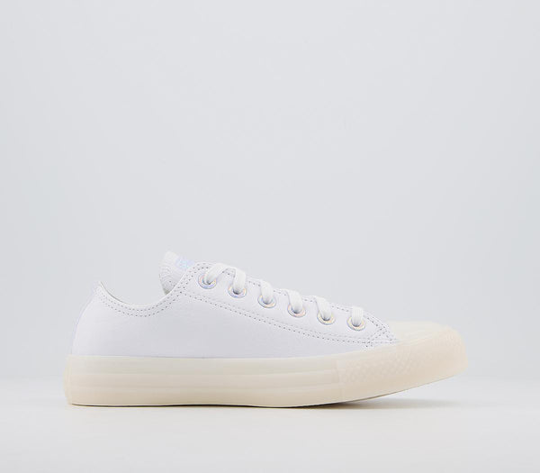 Odd sizes - Womens Converse All Star Low White Leather Iridescent Sizes R6.5/L6