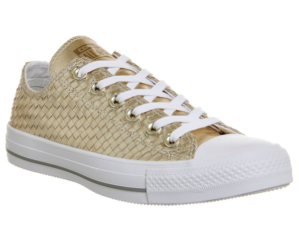 Unisex  Converse  Converse All Star Low  Gold Woven Metallic Canvas   Uk Size 4