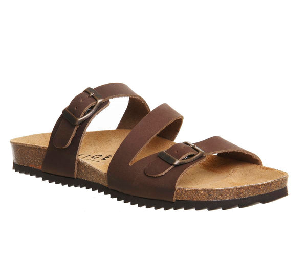 Womens Office Bounty Cross Strap Footbed Brown Leather