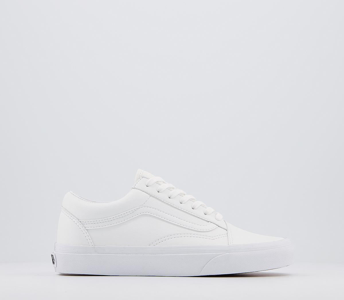 Mens Vans Old Skool White White Leather