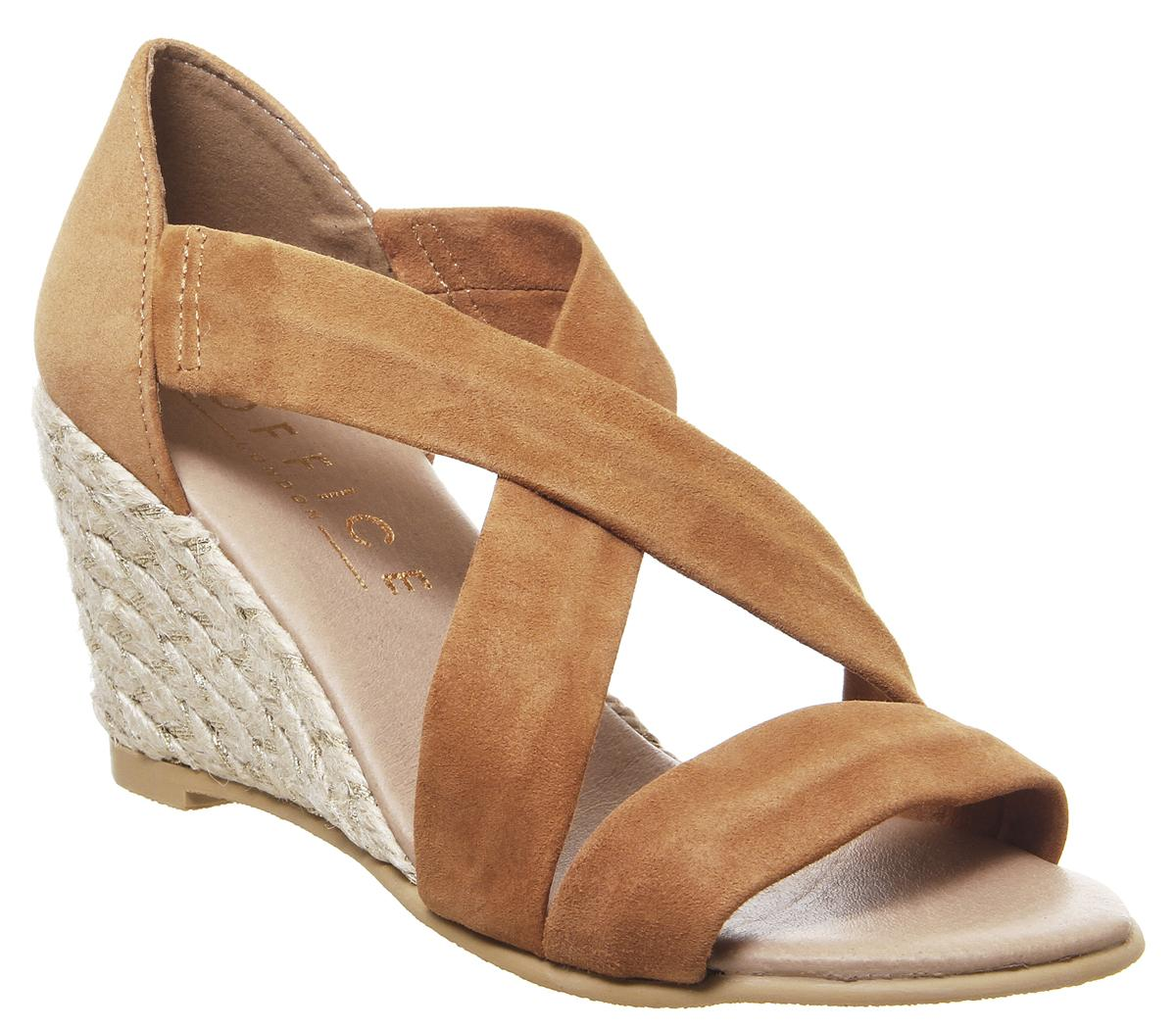 Womens Office Maiden Cross Strap Wedge Tan Suede Gold Mix Jute