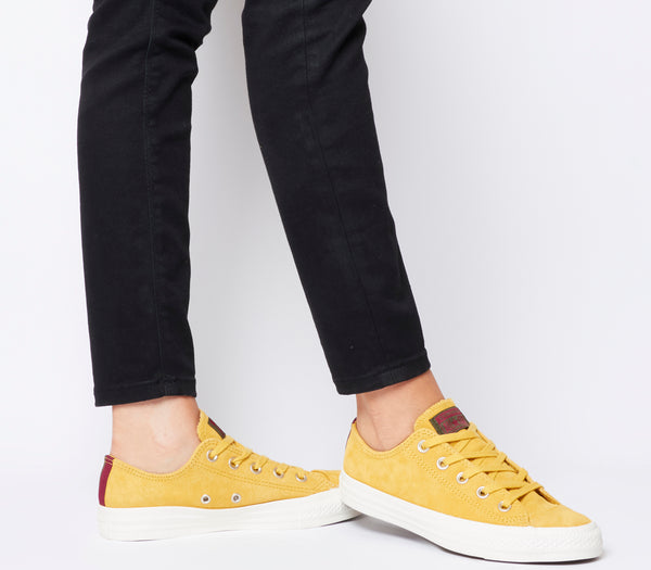 Converse All Star Low Leather Trainers Desert Marigold Egret Heel Stripe