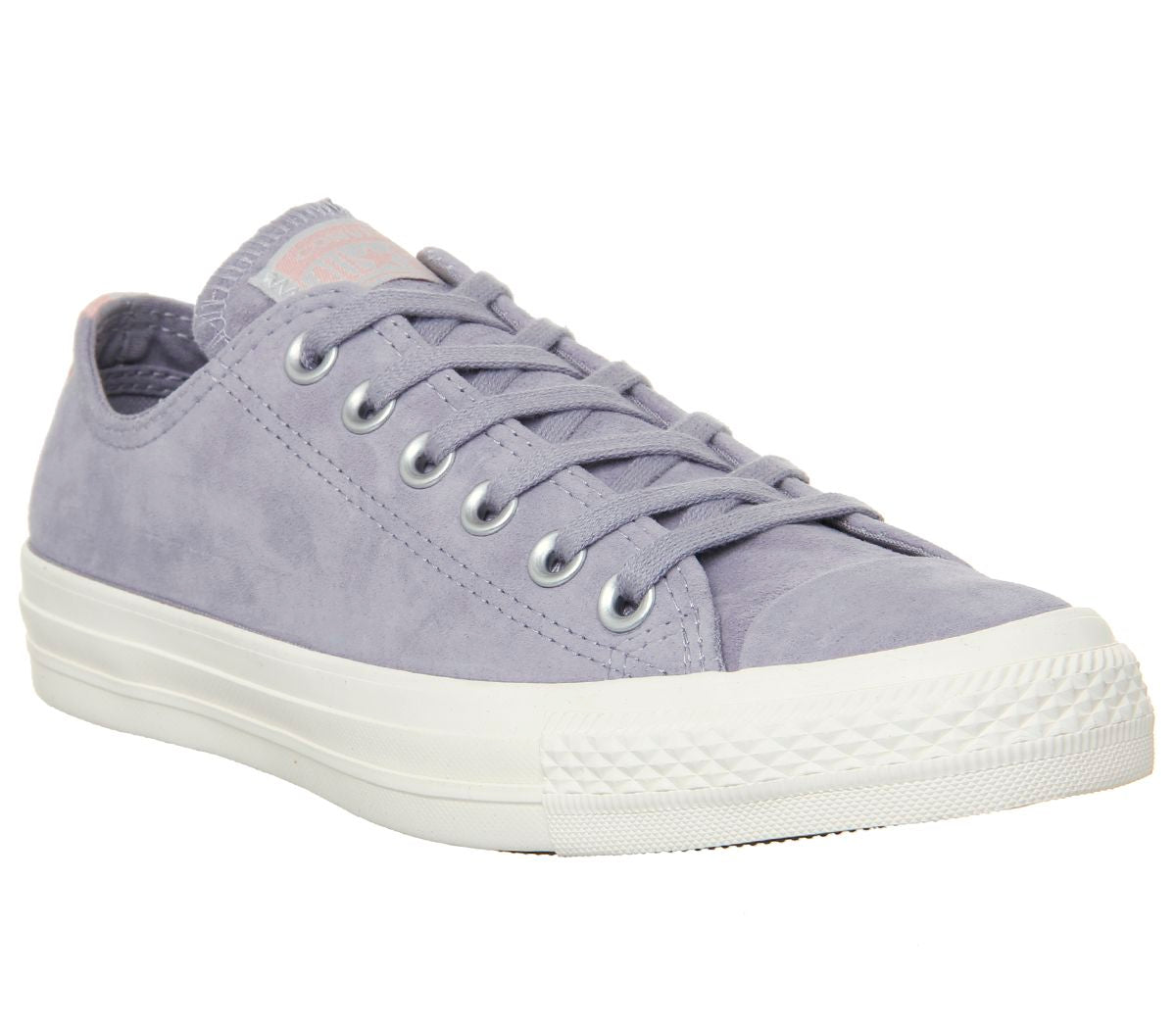 Converse All Star Low Leather Trainers Provence Purple Egret Heel Stripe