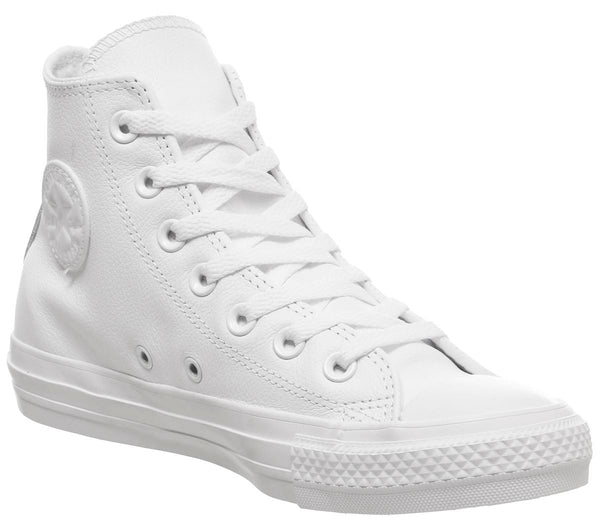 Mens Converse All Star Hi Leather White Mono Leather Uk Size 9