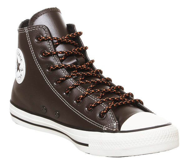 Mens All Star Hi Leather Trainers Velvet Brown Campfire Orange