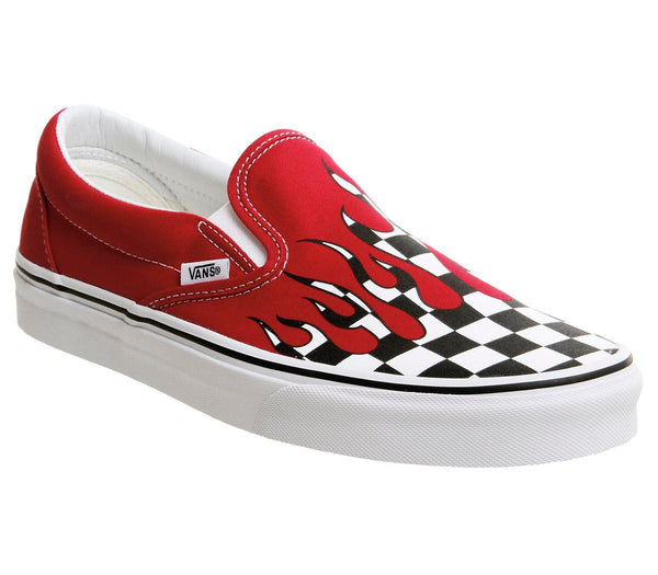 Mens Vans Classic Slip On Racing Red Checkerboard Flame