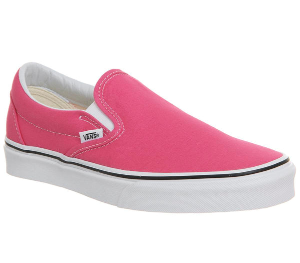 Womens Vans Classic Slip On Hot Pink True White