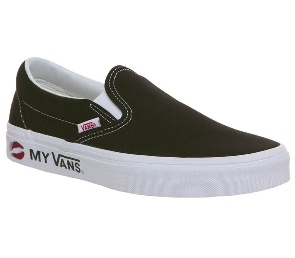 Womens Vans  Classic Slip On Kmv Black True White Racing Red Uk Size 6