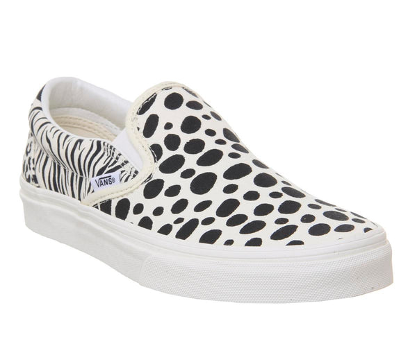 Womens Vans Classic Slip On Animal Print Classic White Black