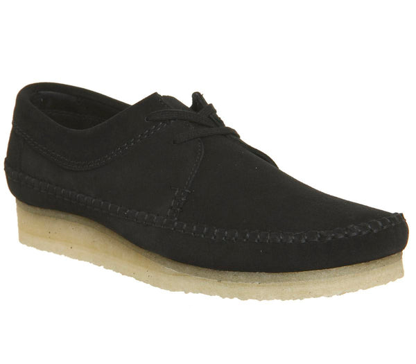 Mens Clarks Weaver Shoe Black Suede New