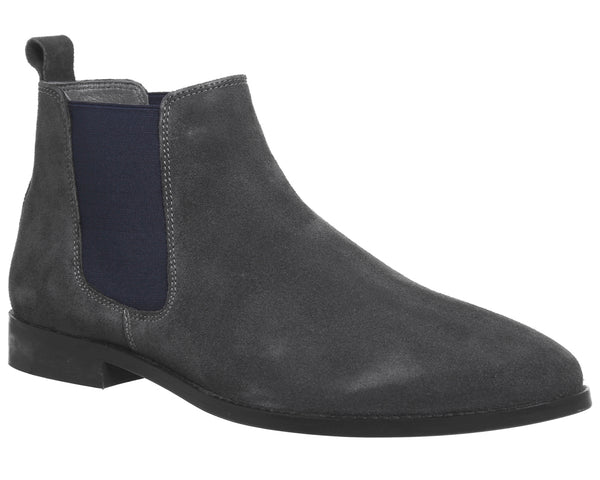 Mens Office Exit Chelsea Boot Grey Suede Navy