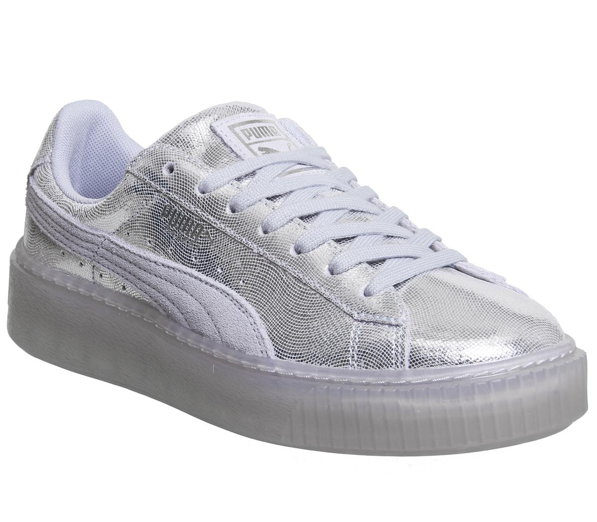 in stock d4d3b 6d04d Womens Puma Basket Platform Icelandic Blue Shine Uk Size 4
