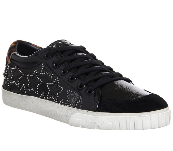 Womens Ash Majestic Low Sneaker Black Leather Silver Stud