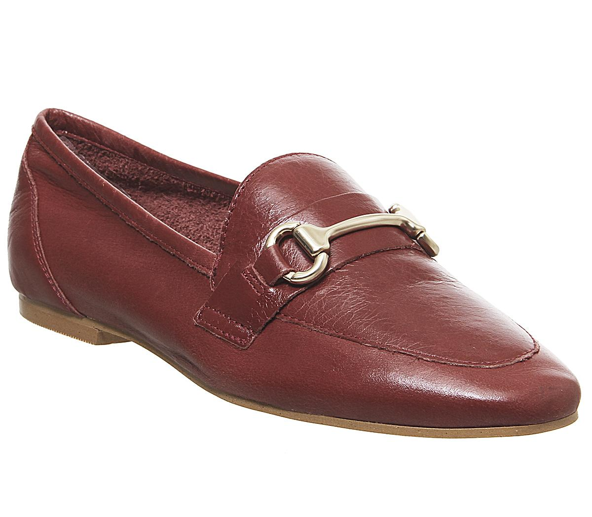 Womens Office Destiny Trim Loafer Dark Red Leather