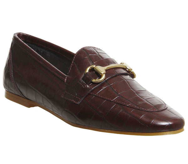 Womens Office Destiny Trim Loafers Burgundy Croc Leather
