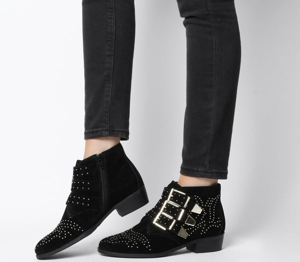 Womens Office Alloy Stud Strap Ankle Boots Black Suede