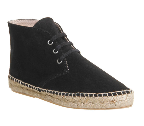 Womens Solillas Espadrille Boot Black Suede
