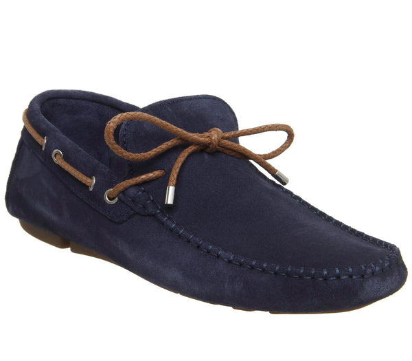 Mens Office Bounty Driver Navy Suede