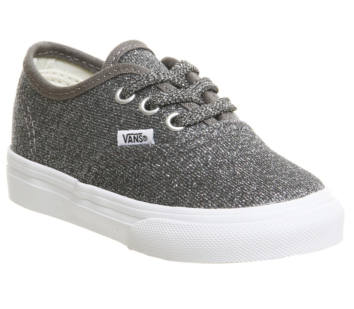Kids Vans Authentic Toddlers Black True White Glitter