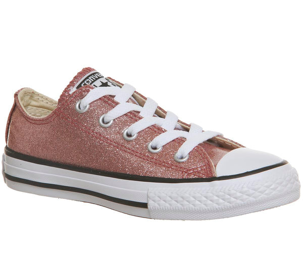 Kids Converse All Star Low Youth Rose Gold Glitter