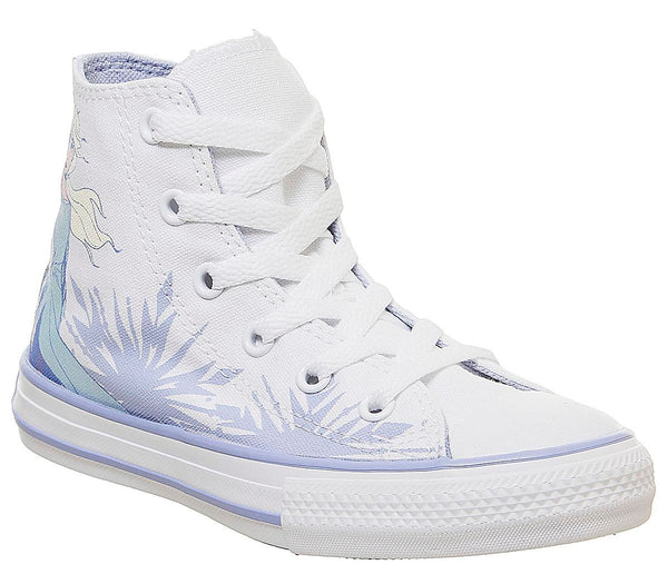 Kids Converse All Star Hi Mid Sizes White Blue Heron Elsa Frozen