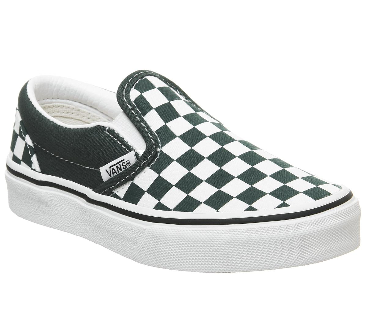 Kids Vans Classic Slip On Kids Trekking Green True White Checker