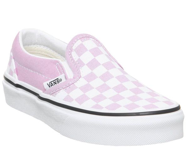 Kids Vans Classic Slip On Kids Lilac Snow True White Checker