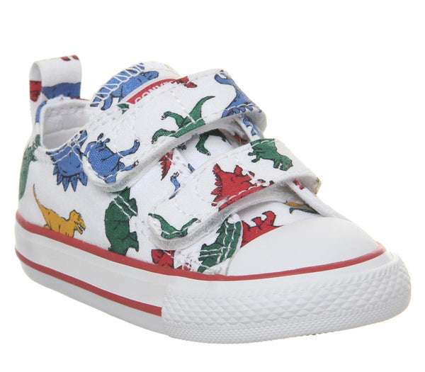 Kids Converse All Star 2Vlace White Dinosaur Uk Size 3 Infant