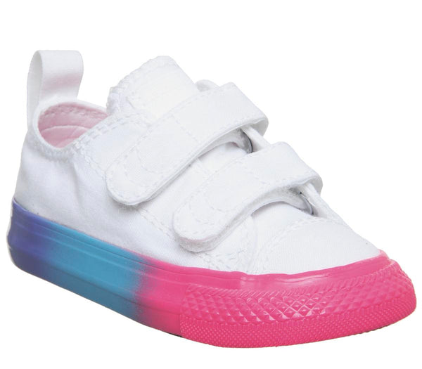 Kids Converse All Star 2Vlace White Racer Pink Black