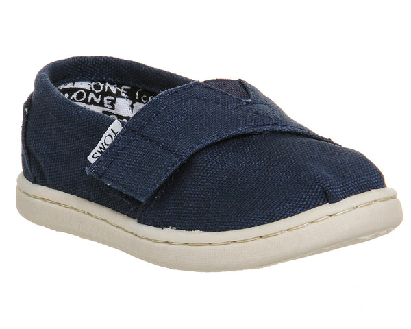 Kids Toms Tiny Classics Navy Canvas Uk Size 10 Youth
