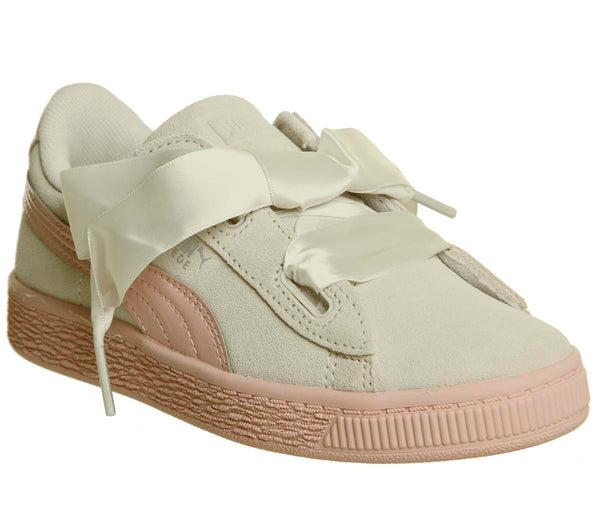 Kids Puma Basket Heart Ps Whisper White Peach Beige