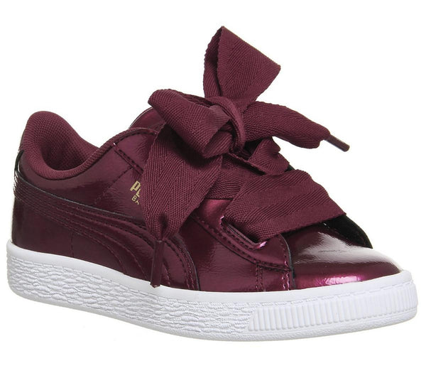 Kids Puma Basket Heart Ps Burgundy