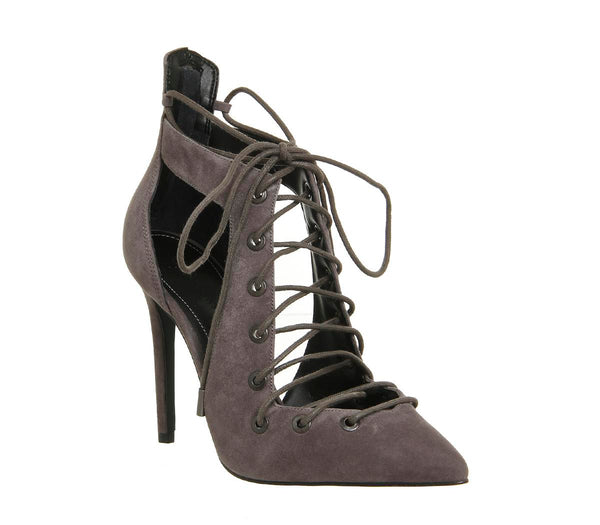 Womens Kendall and Kylie Angel Lace Up Heel Grey Kid Suede