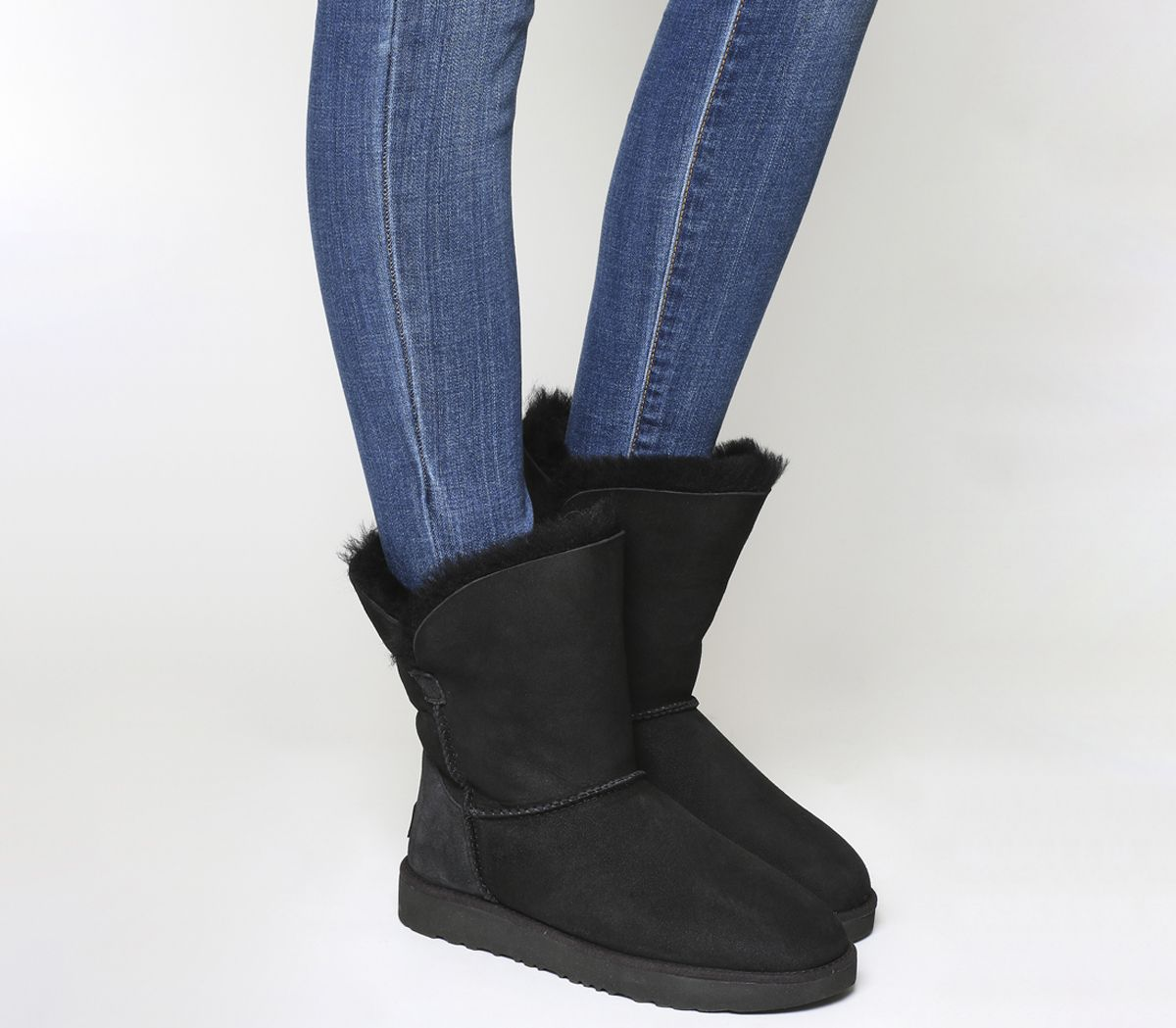 Womens UGG Bailey Button II Boots Black Suede