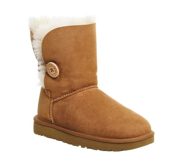 Odd sizes - Womens Ugg Bailey Button Ii Boot Chestnut Suede UK Sizes R5/L4
