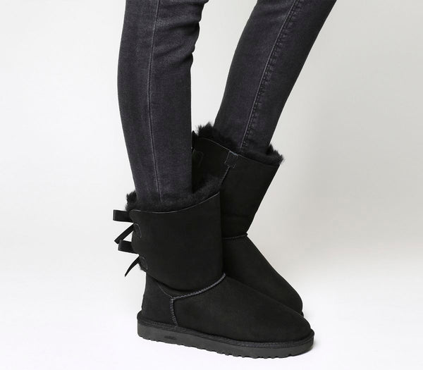 Womens UGG Bailey Bow II Calf Boots Black Suede